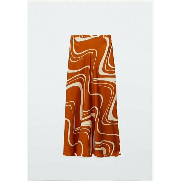 Massimo Dutti MIT PRINT Spódnica trapezowa orange M3I21B078