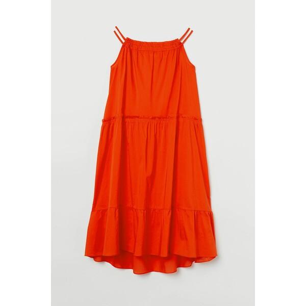 H&M Bawełniana sukienka trapezowa 0893752002 Pomarańczowy