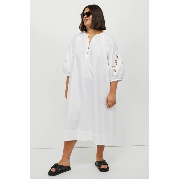 H&M H&M+Tunikowa sukienka 0983580001 Biały