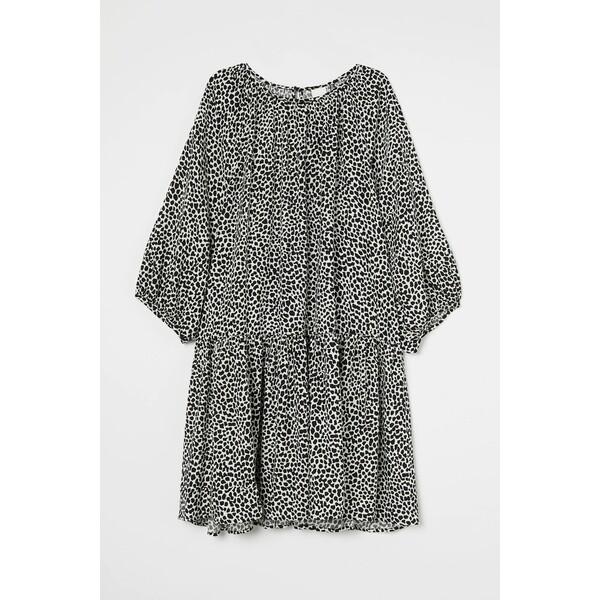H&M Sukienka z baloniastym rękawem 0915453001 Czarny/Biały wzór