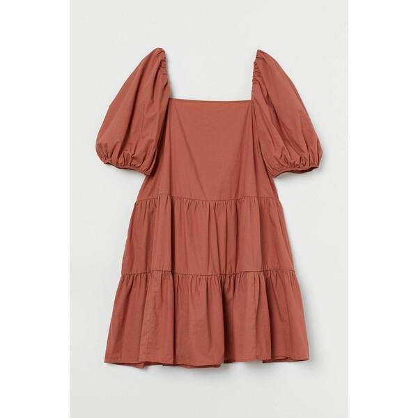 H&M Sukienka z bufiastym rękawem 0905614002 Rdzawobrązowy