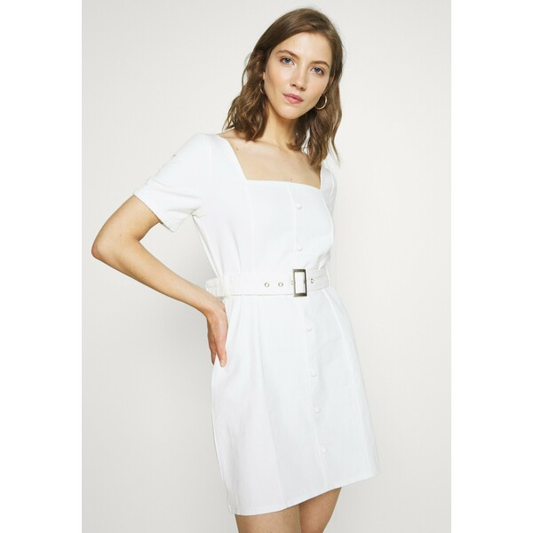 Missguided SELF BELTED PUFF SLEEVE MINI DRESS Sukienka jeansowa white M0Q21C1HO