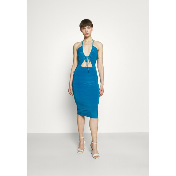Missguided HALTER NECK CHANNEL CUT OUT Sukienka z dżerseju blue M0Q21C1YX