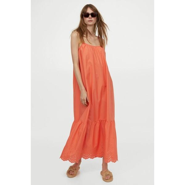 H&M Długa sukienka z popeliny 0965554004 Koralowy
