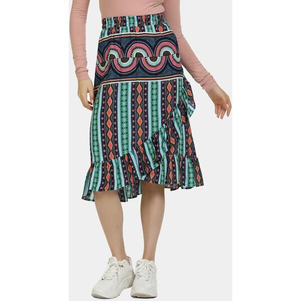 myMo Spódnica trapezowa green/pink/orange 1MY21B01W
