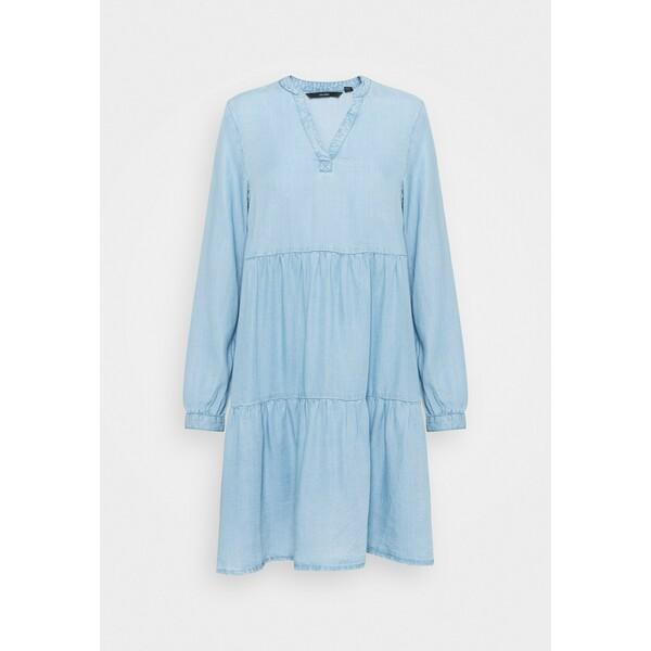 Vero Moda VMVIVIANA SHORT TIERED Sukienka jeansowa light blue VE121C2OC