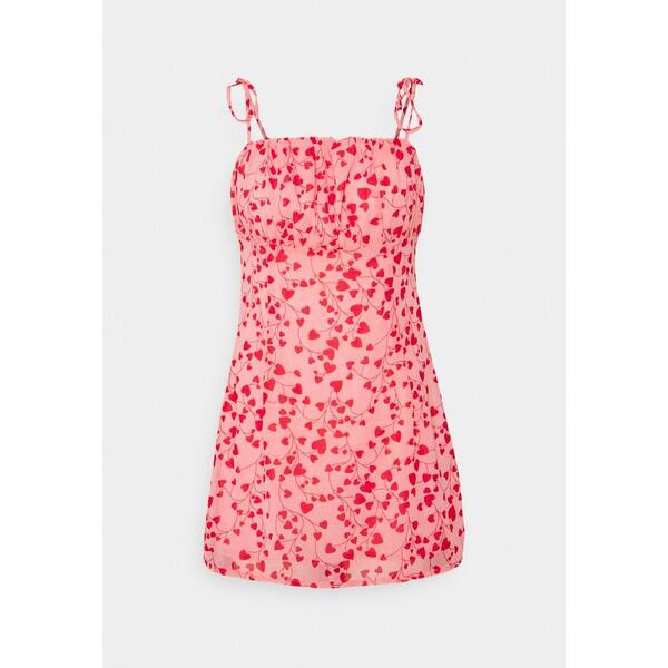 Missguided HEART DITSY TIE STRAP MINI DRESS Sukienka letnia pink M0Q21C20X
