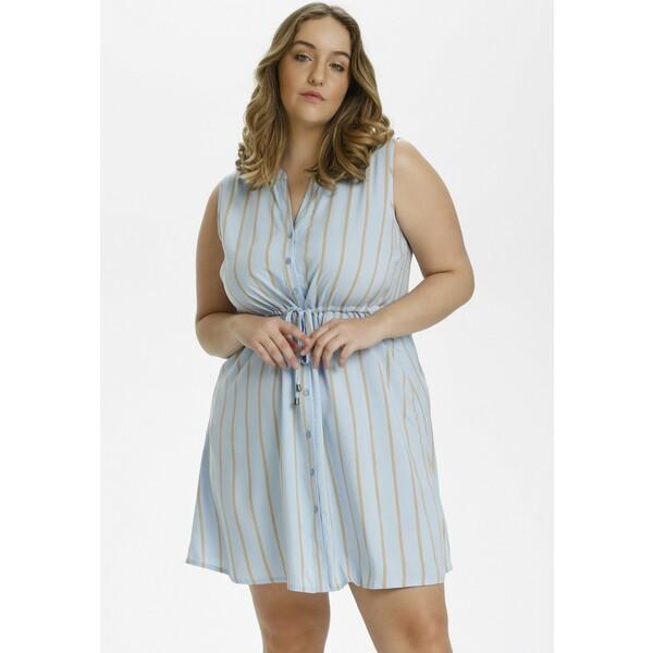 Kaffe Curve Sukienka koszulowa chambray blue / sand stripe KAN21C01O