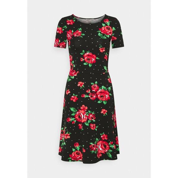 Anna Field Sukienka z dżerseju black / pink AN621C1MZ