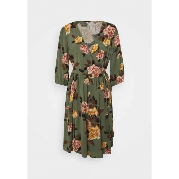 Object Petite OBJROSE WRAP DRESS Sukienka letnia deep lichen green/flower OB821C039