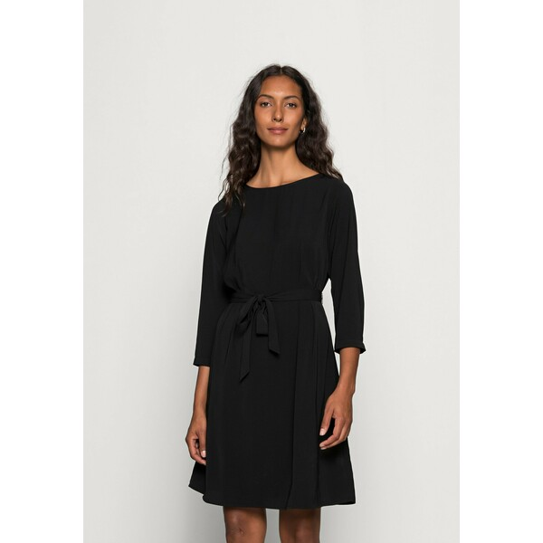 Anna Field WOVEN 3/4 SLEEVE BELTED DRESS Sukienka letnia black AN621C1NT