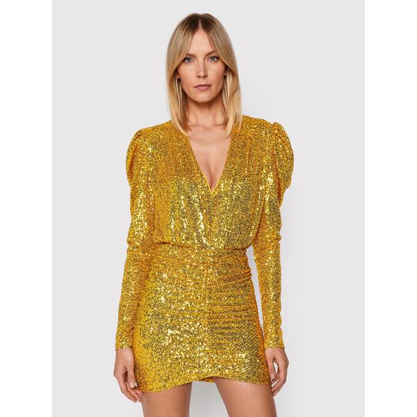 Pinko Sukienka koktajlowa Resistencia 20212 BLK01 1G16MJ Y7DW Złoty Regular Fit