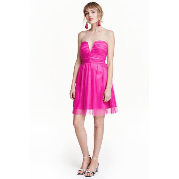 4f10a618fc H M Tiulowa sukienka 0395912001 Wiśniowy - MojeSukienki.pl