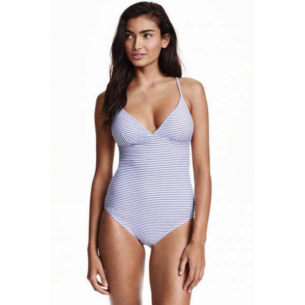 H&M Kostium kąpielowy w paski 0378215001 Niebieski/Biały