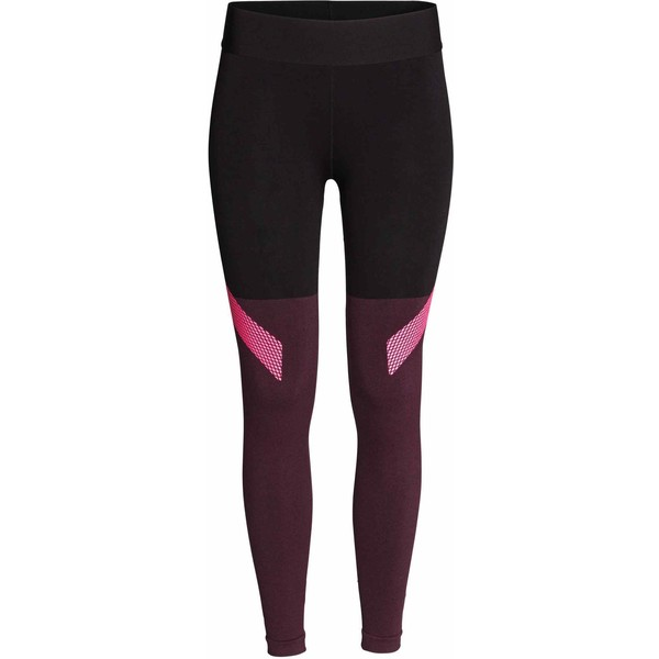 1efe6b563c23fc H&M Seamless sports tights 0407798003 Burgundy/Black - UbierzmySie.pl