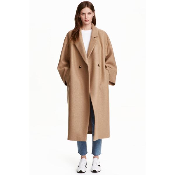 Znane H&M Wełniany płaszcz oversize 0416536005 Beżowy - UbierzmySie.pl UQ-55