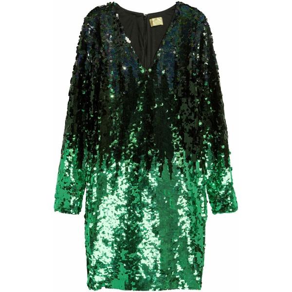 5dce856a9e H M Cekinowa sukienka 0453864001 Czarny Zielony - MojeSukienki.pl