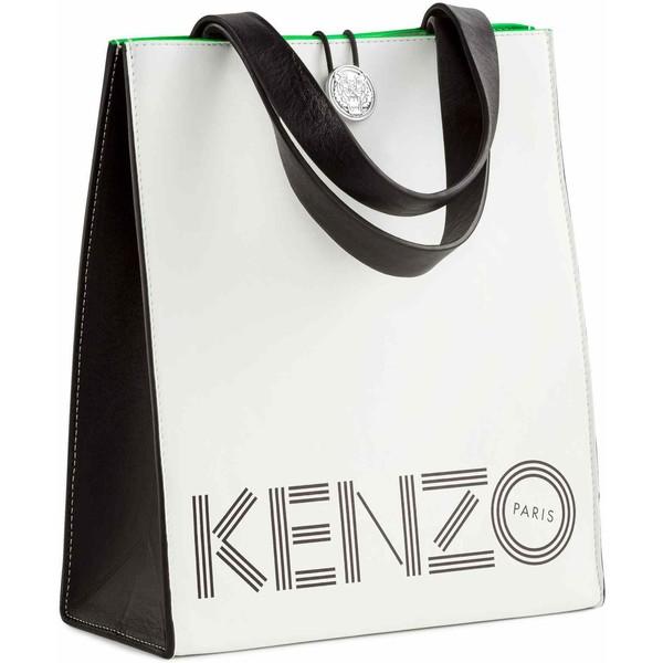 5492c9a139b85 H&M Mała torba shopper ze skóry 0439443001 Biały/Zielony - UbierzmySie.pl