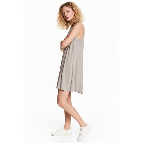 301aeca8b9 H M Dżersejowa sukienka w serek 0491168007 Jasny brązowoszary ...