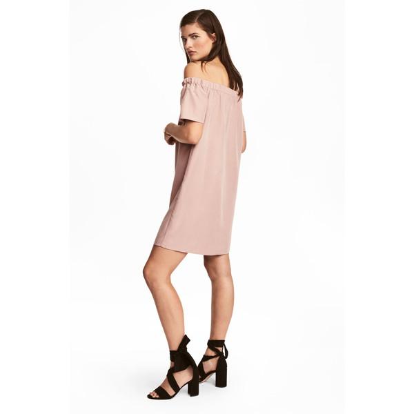 H&M Sukienka z odkrytymi ramionami 0488310001 Pudroworóżowy