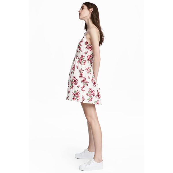 b5ccb4c88b H M Krótka sukienka 0504113005 Biały Kwiaty - MojeSukienki.pl