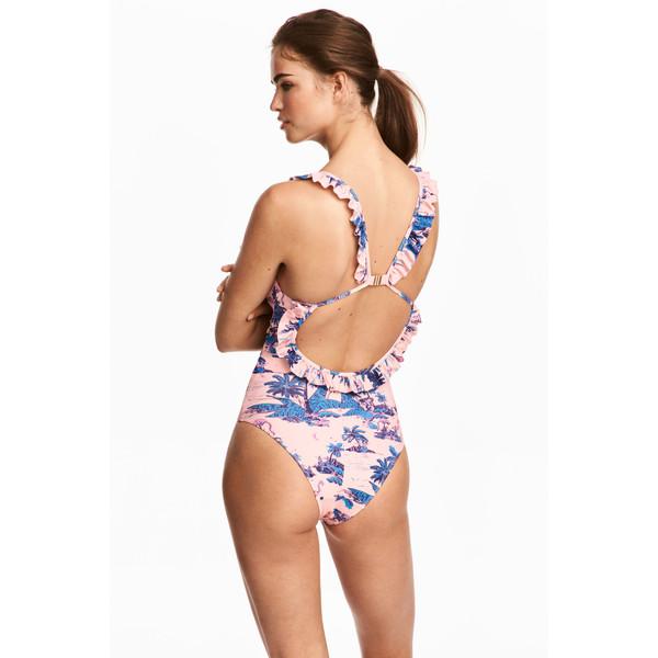 H&M Kostium kąpielowy z falbaną 0524041005 Jasnoróżowy/Palmy
