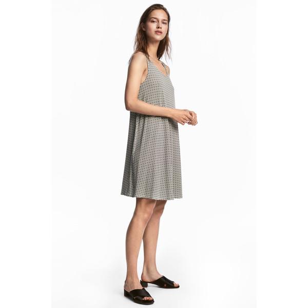 H&M Trapezowa sukienka z dżerseju 0538280005 Naturalna biel/Wzór