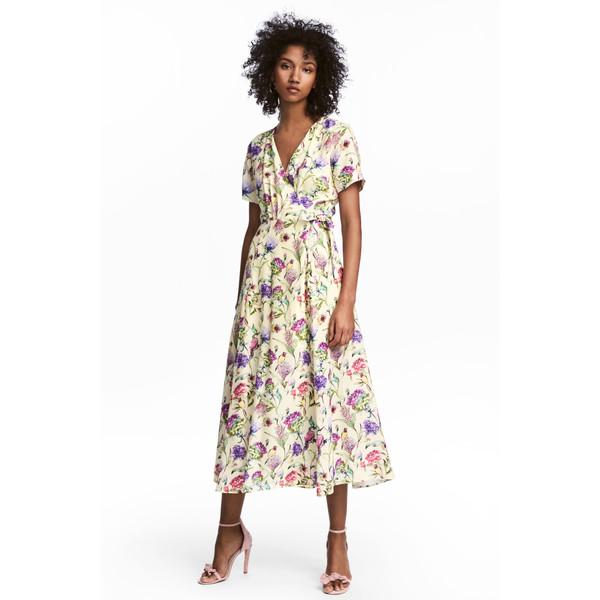 616c36fb85 H M Kopertowa sukienka we wzory 0538845002 Jasnożółty Kwiaty ...