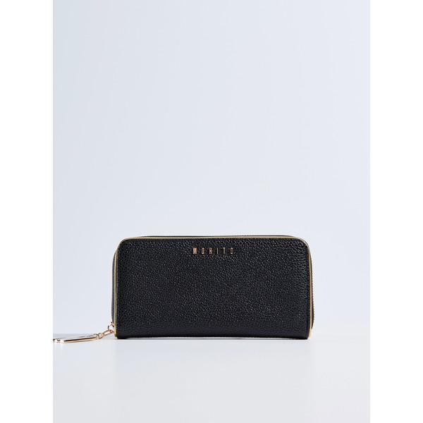 128389c8d4ea8 Mohito Czarny portfel ze złotą lamówką RV322-99X - UbierzmySie.pl