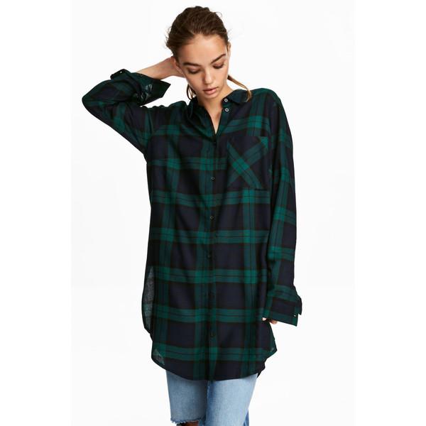 784115e4fadbdb H&M Długa koszula z wiskozy 0542017001 Ciemnoniebieki/Zielony krata ...