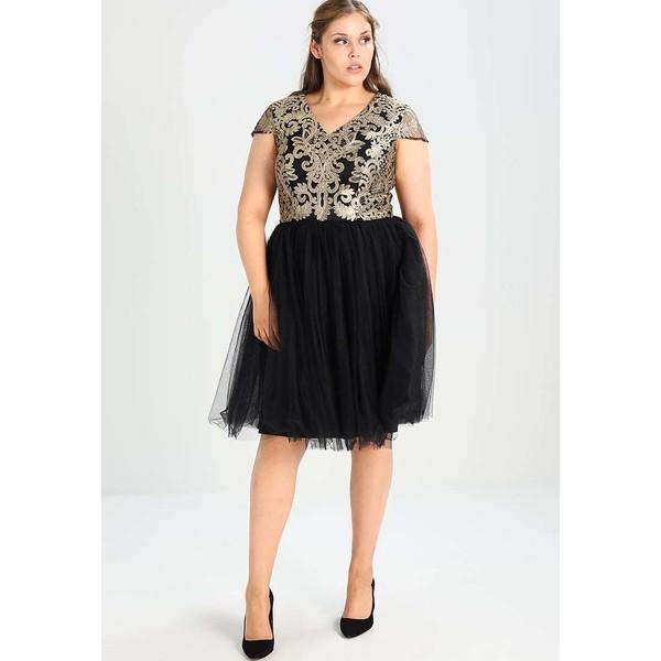 21be566a12e6 Chi Chi London Curvy SHAHEEN Sukienka koktajlowa black gold CV721C03J