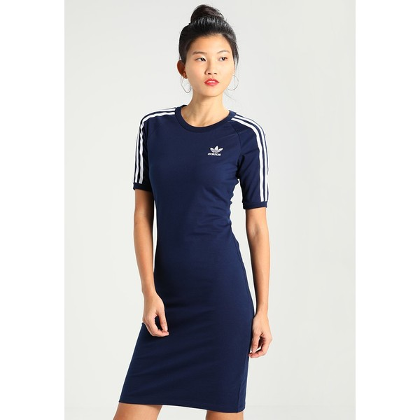 adidas originals 3 stripes dress sukienka z dżerseju ciemnoniebieski