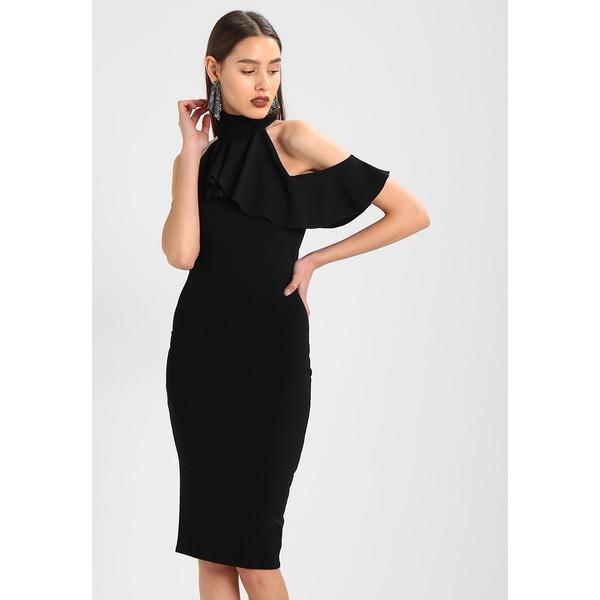 bd6419264b18 Missguided HIGH NECK FRILL COLD SHOULDER MIDI DRESS Sukienka etui black  M0Q21C0PI
