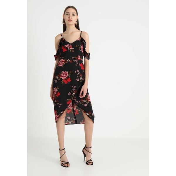 1bfc2dd507 Missguided FLORAL PRINT FRILL MIDI DRESS Sukienka letnia black M0Q21C0V1.  (C) zalando.pl. (C) zalando.pl