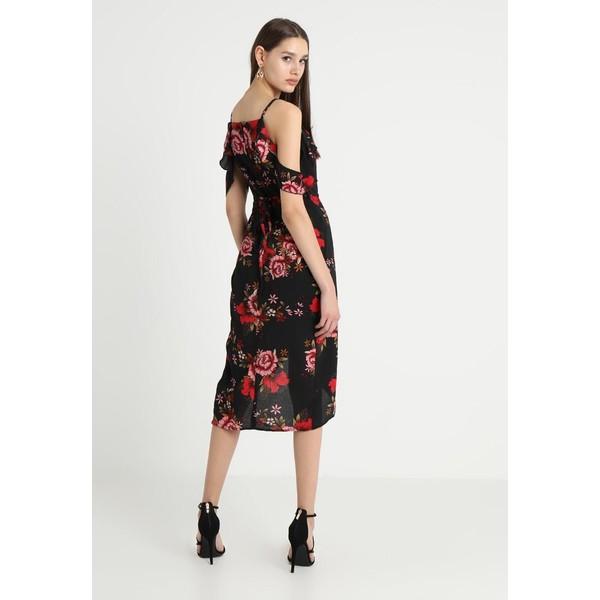 dd89e87406 Missguided FLORAL PRINT FRILL MIDI DRESS Sukienka letnia black M0Q21C0V1