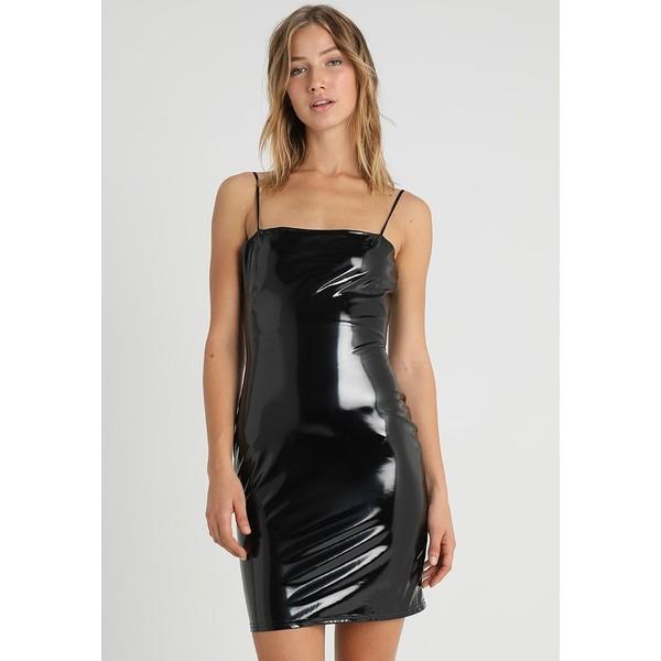 8ac7b06c78 Missguided SQUARE NECK ZIP DETAIL BODYCON DRESS Sukienka koktajlowa black  M0Q21C119 - UbierzmySie.pl