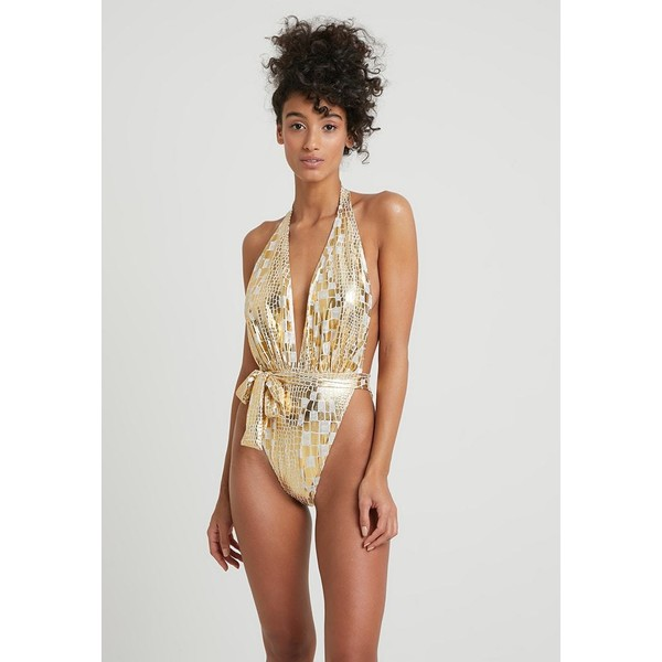 Missguided SUPER EXTREME HIGH LEG SWIMSUIT Kostium kąpielowy gold M0Q81G012
